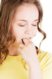 stock photo of vomiting  - Portrait of young woman provoke vomiting - JPG