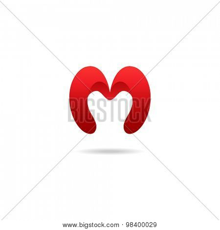 Letter M logo design template in red colors. Vector logotype.