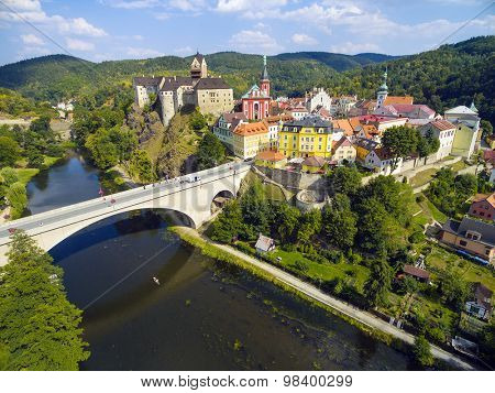 Aerial view of medieval town Loket nad Ohri nearby Karlovy Vary spa in Czech Republic. Central Europe.