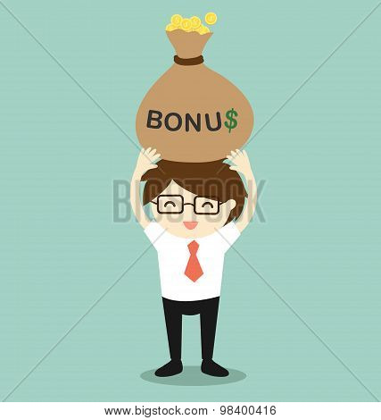Business concept, Businessman holding bonus and feeling happy. Vector illustration.