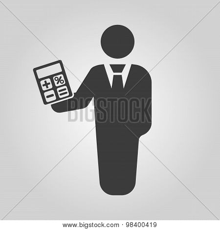 The financier avatar icon. Bank employee and banking, business, investment symbol. Flat