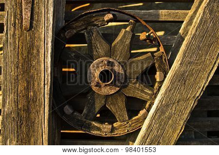 Carriage wheel, decorative detail from an old barn near Danube river