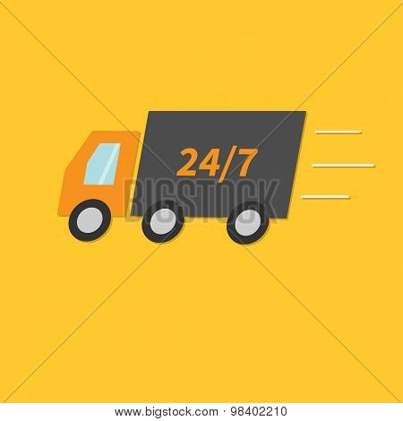 Free Delivery Car Service. Truck With Speed Line. Fast Shop Shipping Concept. 24 7 Flat Design Style