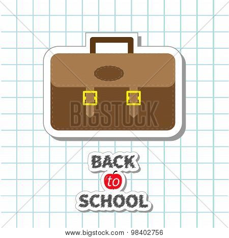 Back To School Big Brown Schoolbag Briefcase On Paper Sheet Background Exercise Book Flat Design