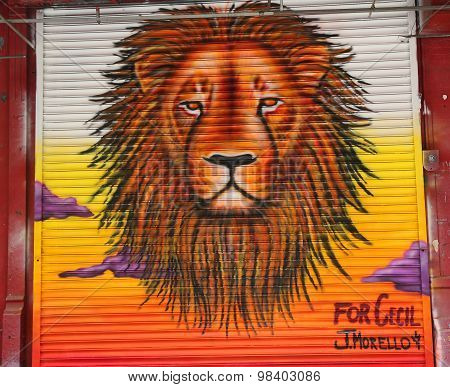 For Cecil the lion mural in Little Italy in Manhattan