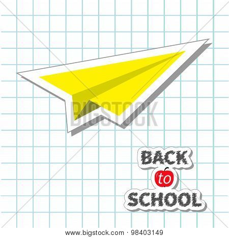 Origami Yellow Paper Plane Handdrawn Doodle Paper Sheet Background Exercise Book Back To School Flat