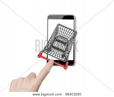 Woman Forefinger Pushing Shopping Cart On Smartphone Of White Scree