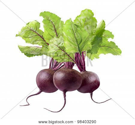 3 Beet Root Isolated On White Background