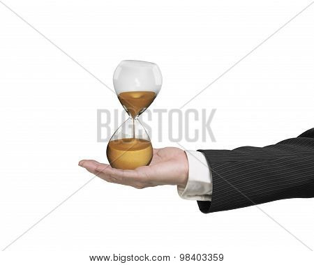 Hourglass In The Business Man's Hand