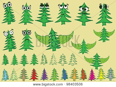 Clipart with creative fir-trees