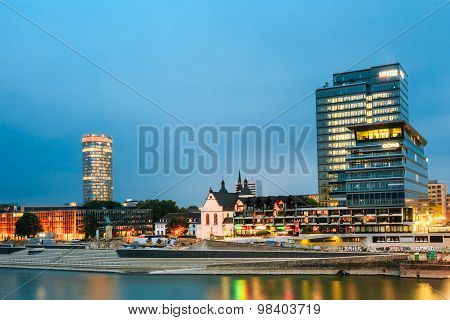 Embankment In Old Part Of Cologne At Summer Evening, River Rhine