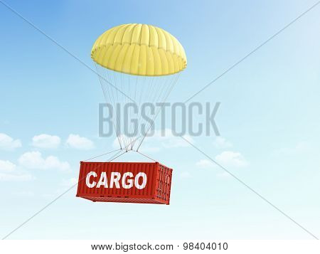 Concept Of Fast Shipment And Delivery Of Cargo. Red Container Is Falling On The Yellow Parachute On