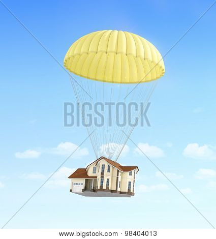 Concept Of Fast Rent. House Falling On The Parachute On A Sky Background.