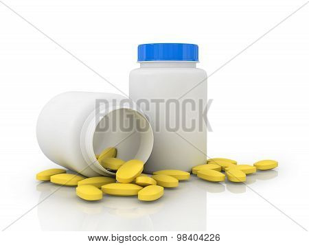 White Jars With Yellow Tablets
