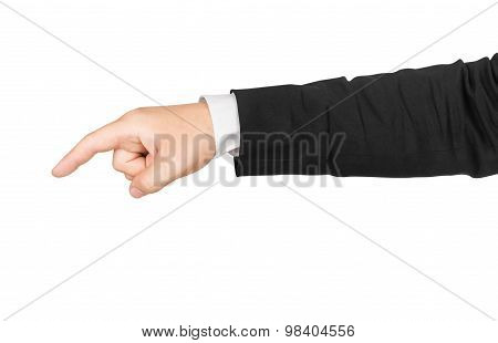 Business Man's Hand Pointing Down Isolated On White