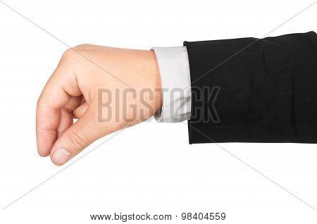 Businessman Hand Holding Something Isolated On White Background