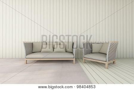 Working and living room / 3D Render Image Luxury vintage