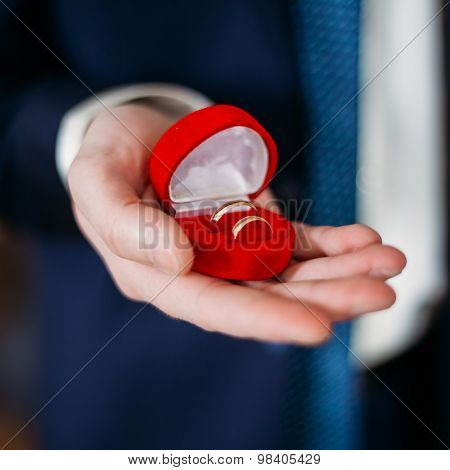 Groom Man Holding Holding Box With Wedding Rings