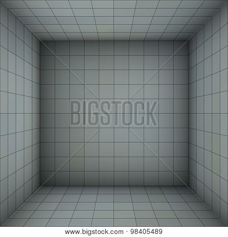 Empty Futuristic Room With Blue Gray Walls And Subdivision