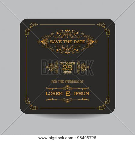 Save the Date - Wedding Invitation Card - Art Deco Vintage Style - in vector