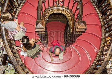 Porto, Portugal - July, 04: People Visiting Famous Bookstore Livraria Lello