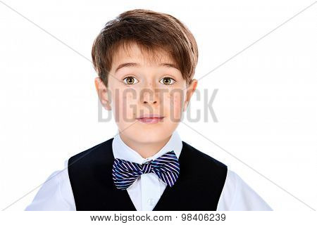 Portrait of a boy in a suit. Fashion kids. Education. Isolated over white.