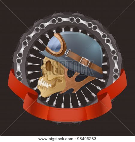 Illustration of skull motorcyclists with helmet.