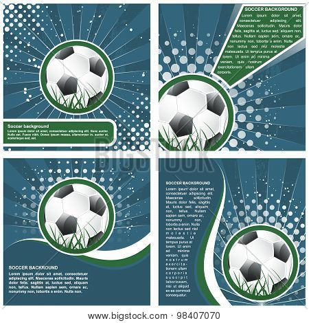 Set of soccer poster template design, vector illustration