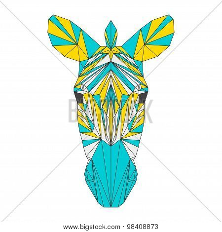 Abstract Zebra Isolated On White Background. Polygonal Triangle Geometric Illustration