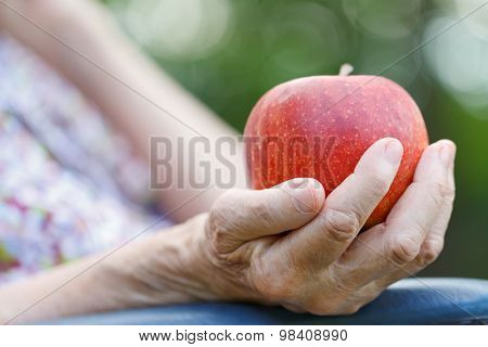 Red Apple In Woman's Hands