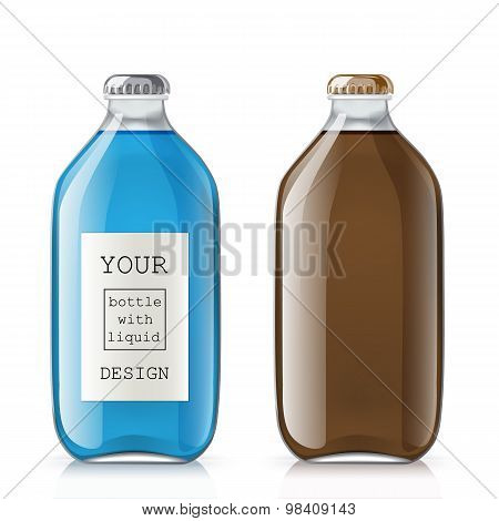 Set of glass bottles with a liquid