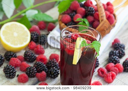Raspberry and blackberry juice
