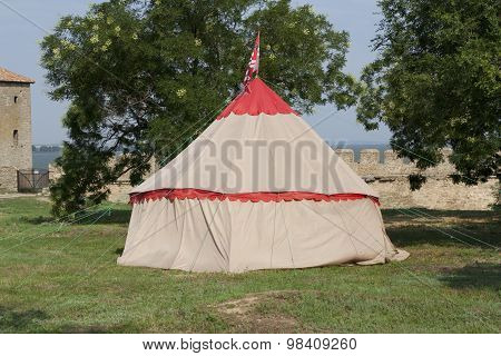 Tent Of Reconstruction Of Medieval Camping Of Knights Photo