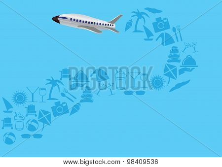 Flying Airplane With Trail Of Vacation Icons Vector Illustration