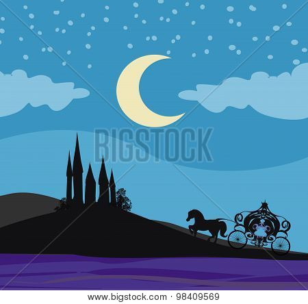 Horse Carriage And A Medieval Castle
