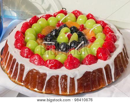 Sweet Cake Imitation: Colorful Wax Mix Fruits Candles Tart