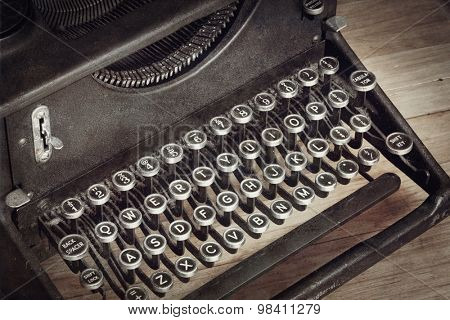Vintage typewriter, with closeup on keys.