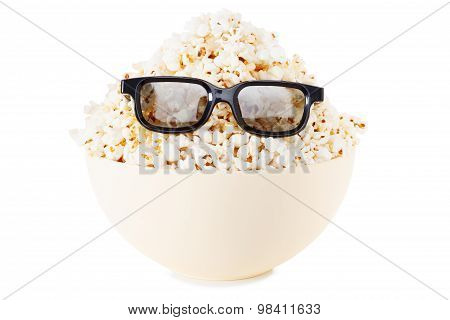 Full Face Smiling Monster Of Popcorn, Glasses. Isolated On White