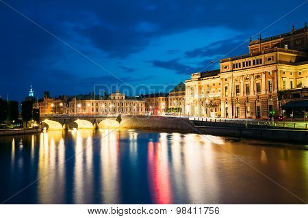 Night View Of Illuminated Stockholm Royal Opera, Sweden
