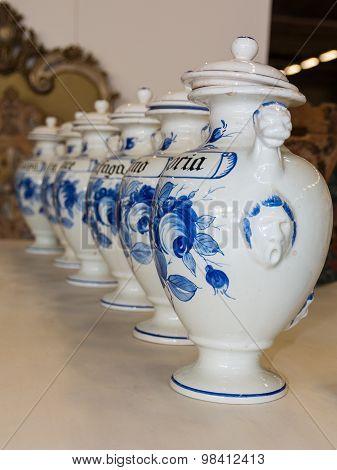 Ceramic Vase Line, White Urns With Caps
