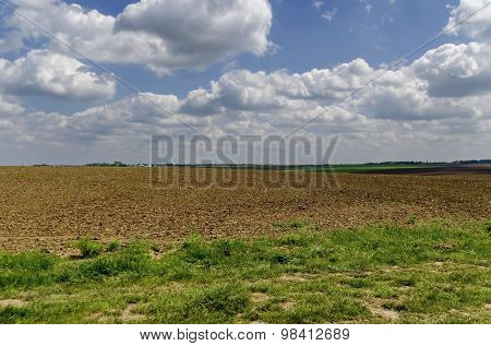 Ploughing field in spring