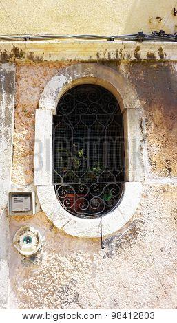 Oval Shape Window Of Old House