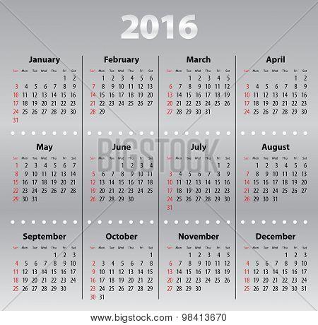 Light Gray Calendar Grid For 2016