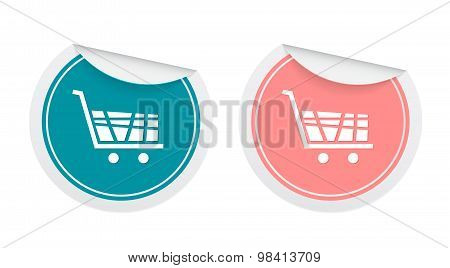 Shopping Cart Signs In Sticker Style