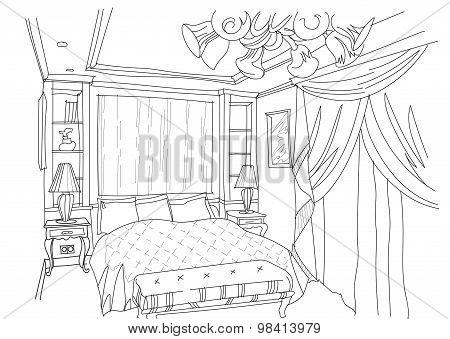 Contemporary interior doodles bedroom.