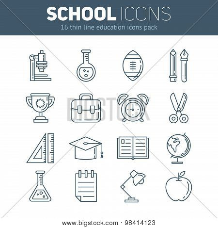 A Set Of School Thin Lined Flat Icons With Education Elements