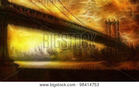 Manhattan Bridge Painterly Landscape