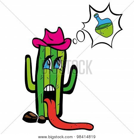Drawing cartoon plant tequila cactus in heat wants to drink water