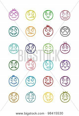 24 Smiles Icons Set 8