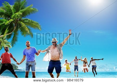 Beach Summer Friends Jumping Happiness Concept